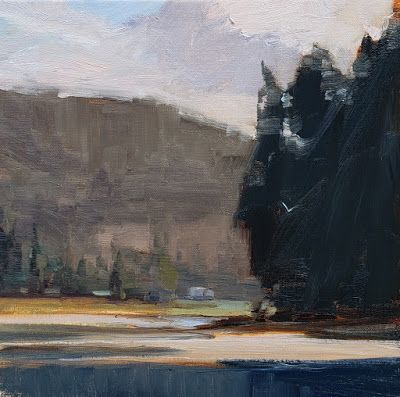 """Big Beef River Estuary"" plein air, landscape painting by Robin Weiss"