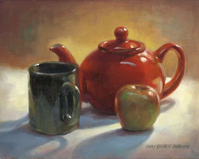Red Teapot with Mug & Apple
