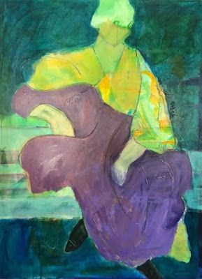 "Abstract Figurative Fine Art Painting,Expressionist Painting, Portrait ""REMINISCENCE"" by Oklahoma Artist Nancy Junkin"