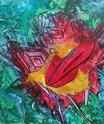 "Abstract Painting, Contemporary Art, Expressionism ""Missile Strike"" By Arizona Artist Cynthia A. Berg"