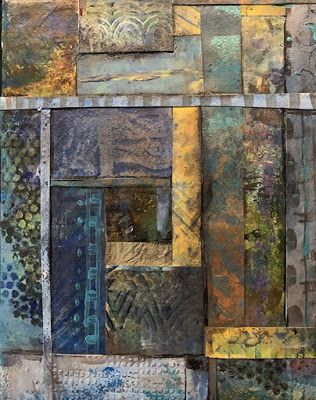 """Contemporary Painting, Mixed Media Art, """"A STUDY IN BLUES AND TANS"""" by Florida Contemporary Artist Mary Ann Ziegler"""