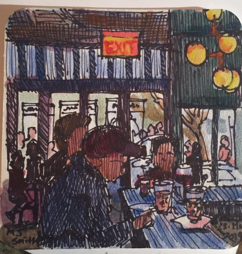 """Day 539 """"Coaster Art - NY City Lunch"""" ink & watercolor"""