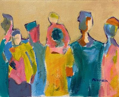 """Expressionist Figurative, Abstract Painting, """"ALL TOGETHER NOW"""" by Oklahoma Artist Nancy Junkin"""