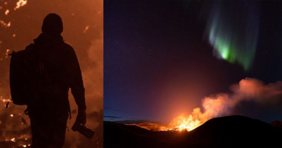 Iceland's Eruption and the Northern Lights Captured in One Photo