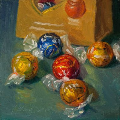 Chocolate candy still life oil painting original daily painting a painting a day