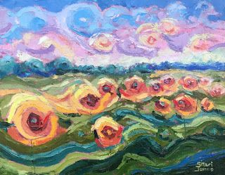 Contemporary Impressionistic Floral and Landscape Palette Knife Oil Painting by Sheri Jones
