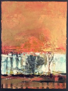 "Abstract Mixed Media,Landscape Art Painting, ""Solitary Life"" by Intuitive Artist Joan Fullerton"