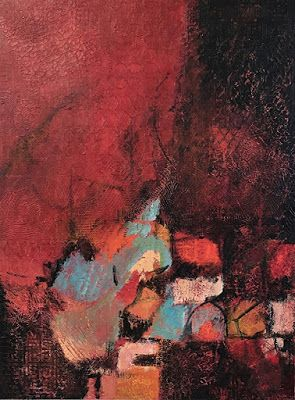 "Red Art, Contemporary Painting, Expressionism, Abstract Art, Mixed Media, ""DESTINED TO ROAM"" by Portland Contemporary Artist Liz Thoresen"