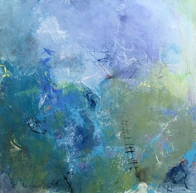 "Contemporary Abstract Expressionist Fine Art Painting for Sale, Blue Art ""UP"" by Contemporary Expressionist Pamela Fowler Lordi"