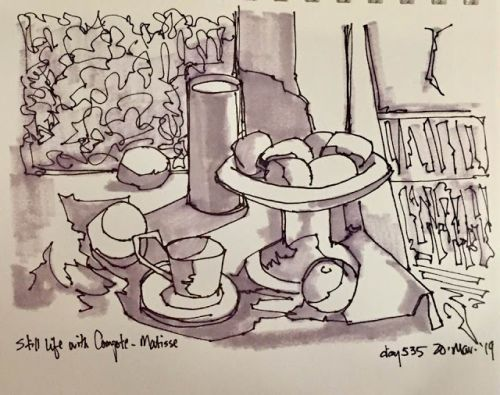 """Day 535 """"Still Light with Compote a la Matisse"""" pen, ink, marker"""
