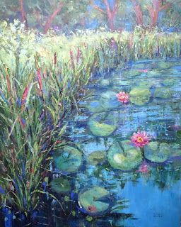 Water Lily Garden, New Contemporary Landscape Painting by Sheri Jones