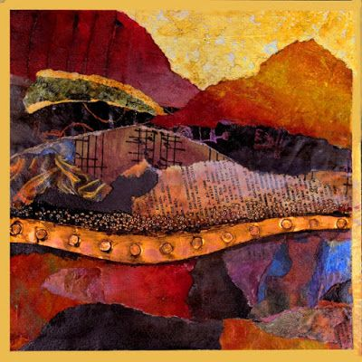 "Mixed Media Abstract Landscape Collage, ""Singing Hills"" by Carol Nelson Fine Art"