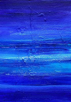 "Mixed Media Abstract Seascape Painting ""DEEP BLUE SURF II"" by California Artist Cecelia Catherine Rappaport"