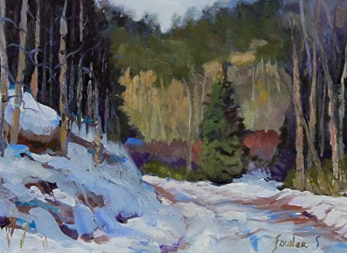 "Colorado Winter Snow Landscape Oil Painting ""Canyon Road Wintery Day"" by Colorado Landscape Artist Susan Fowler"
