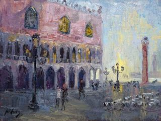 "New ""Sunrise in St. Mark's Square"" Oil Painting by Contemporary Impressionist Niki Gulley"
