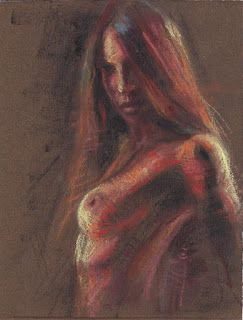 Spanish Dancer female nude pastel drawing painting