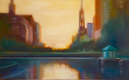 "Contemporary Landscape Painting, City Scene,Water ""Boston Sunset"" by California Artist Cecelia Catherine Rappaport"