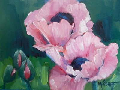 Pink Poppies, Daily Painting, Small Oil Painting, 6x8