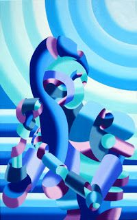 Mark Webster - Mandy Brushing Her Hair - Abstract Geometric Futurist Figurative Oil Painting