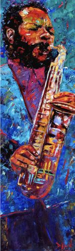 "Colorful Jazz Art Music Art Painting ""Ornette Coleman"" by Texas Artist Debra Hurd"