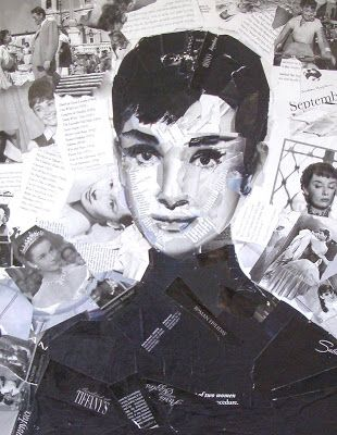 Audrey Collage on Canvas Portrait of Audrey Hepburn