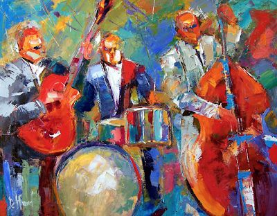 """Colorful Jazz Art Music Fine Art Print, Blues """"Guitar, Bass and Drums"""
