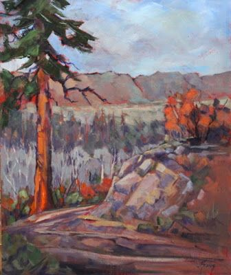 "Pine Tree, Contemporary Impressionist Landscape Painting,Colorado Landscape, Fine Art Oil Painting,""Solitary Pine"" by Colorado Contemporary Fine Artist Jody Ahrens"