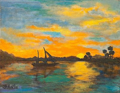 """Sunset, Seascape, Sailboat Oil Painting """"Evening Glow"""" by Florida Impressionism Artist Annie St Martin"""