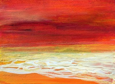 "Abstract Seascape Painting ""Sunset II"" by California Artist Cecelia Catherine Rappaport"