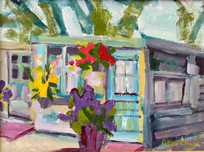 """Taos, New Mexico, Expressive Landscape Painting, """"Chicken Coop"""" by Santa Fe Artist Annie O'Brien Gonzales"""