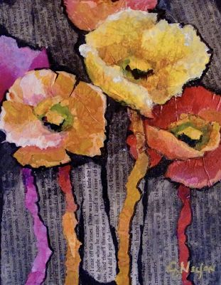 """Abstract Floral Fine Art Print """"Spring Has Sprung"""" by Colorado Mixed Media Artist Carol Nelson"""
