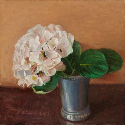 Hydrangea flower still life flora oil painting original a painting a day