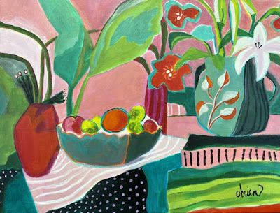 "Contemporary Abstract Bold Expressive Still Life Flower Art Painting, ""June Table"" by Santa Fe Artist Annie O'Brien Gonzales"