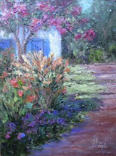 Contemporary Impressionistic Landscape Floral Palette Knife Oil Painting by Sheri Jones