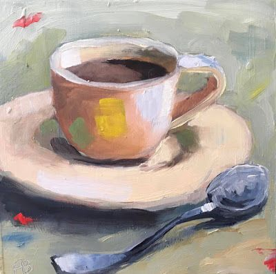 309 Mid Morning, Still life painting of a cup of coffee with spoon by Fred Bell