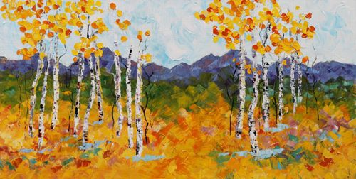 "Palette Knife Aspen Tree Impressionist Landscape Painting ""Autumn Weekend"" by Colorado Impressionist Judith Babcock"
