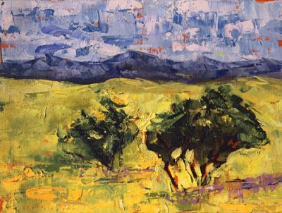 """Palette Knife Colorado Landscape Painting """"Prairie View"""" by Colorado Impressionist Judith Babcock"""