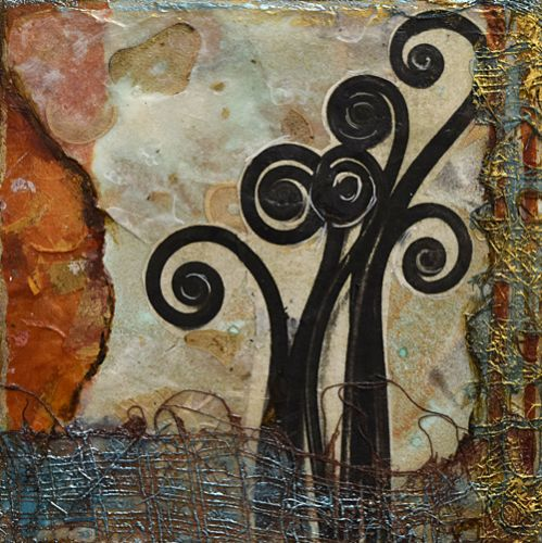 "Contemporary Art, Mixed Media Abstract Painting, ""The Fiddler"" by Santa Fe Contemporary Artist Sandra Duran Wilson"