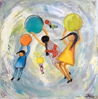 "Contemporary Art, Painting of Children, Figurative Painting ""Woosh"" by Arizona Artist Pat Stacy"