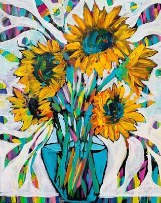 """Expressive Floral, Still Life Floral Painting, """"HAPPINESS ABOUNDS"""" by Texas Contemporary Artist Jill Haglund"""