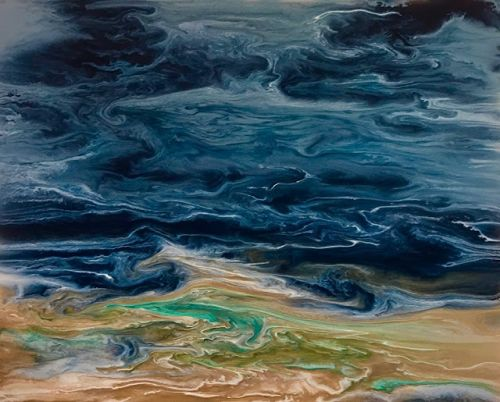 "Contemporary Seascape, Abstract Seascape, Coastal Living Decor, Fine Art, ""Gulf Storm-Electric Storm Series"