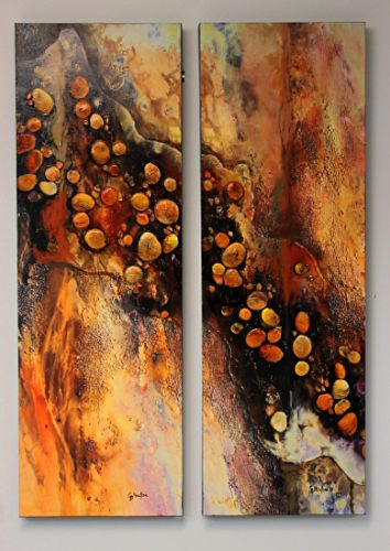 """SUMMER SALE-Textured Mixed Media Abstract Painting, """"ARROYO,"""" by Mixed Media Artist Carol Nelson Fine Art"""