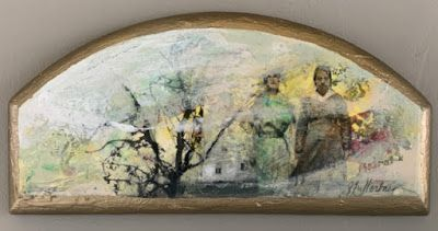 "Contemporary Mixed Media Painting,Arched Canvas, Figures, House, ""Steadfast"" by Intuitive Artist Joan Fullerton"
