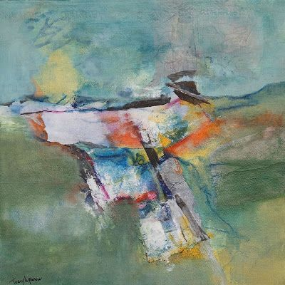 "Expressionism, Contemporary Art, Mixed Media Abstract Landscape Painting, ""Sacred Ground"" by Contemporary Artist Tracy Lupanow"