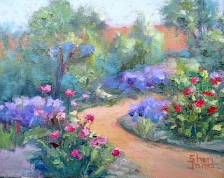 Asters in the Garden, New Contemporary Landscape Painting by Sheri Jones