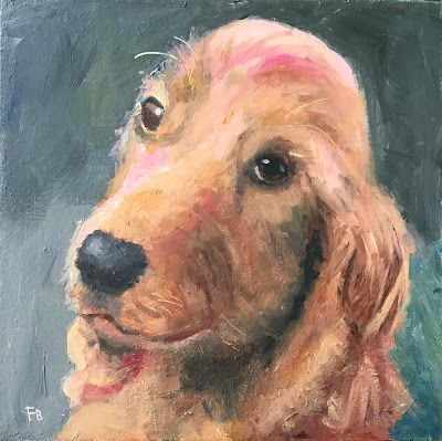 302 Spaniel Dog Portrait, 6x6, oil on panel, Fred Bell